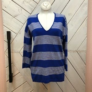 Madewell Stripped V-Neck Sweater Cotton Wool Blend